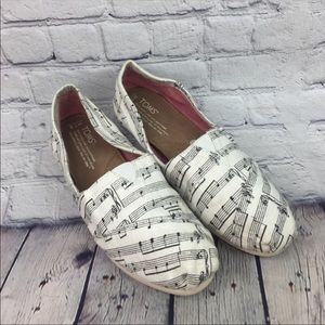 Toms White Canvas Musical Note Shoes Size 7.5